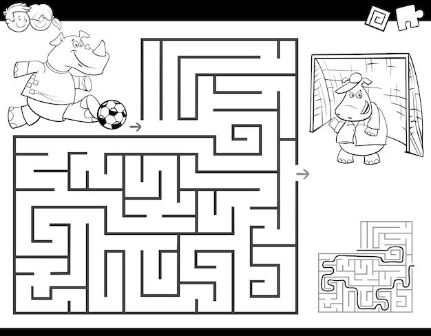 Jogo de atividade de labirinto educacional para crianças colorir livro