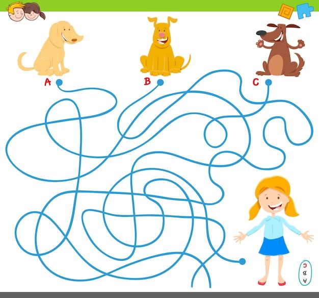 Jogo de atividade de quebra-cabeça de labirinto de linhas com cães e menina