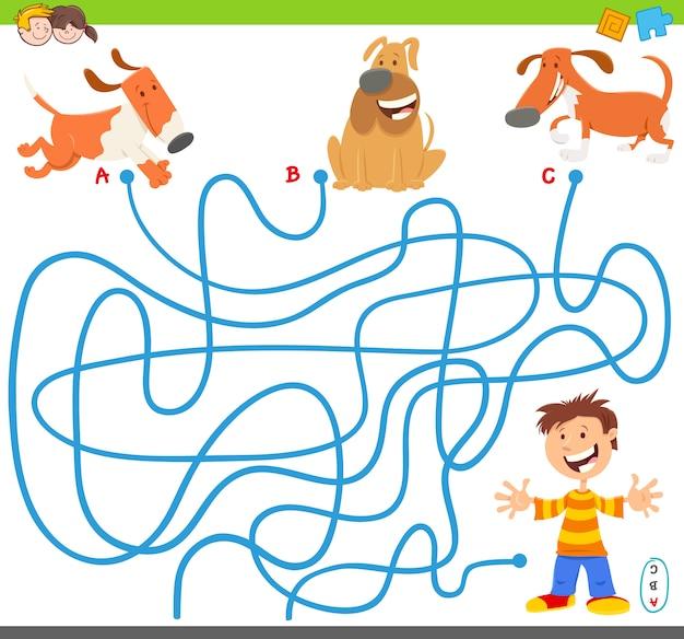Jogo de atividade de quebra-cabeça de labirinto de linhas com cães e menino