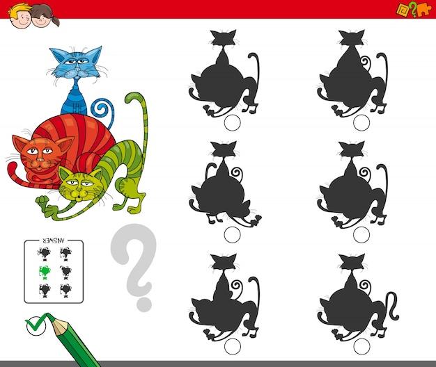 Jogo de atividade de silhueta com personagens de gato