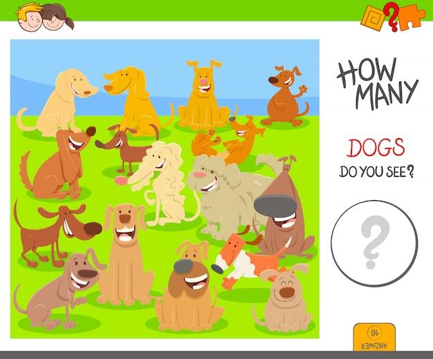 Jogo de atividades de contagem educacional com cães