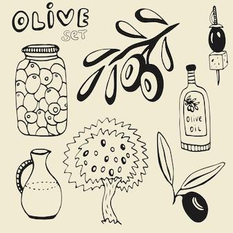 Jogo de azeitona desenhado à mão. conjunto dos elementos. azeitonas, azeite, ramo e árvore no fundo