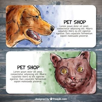 Jogo de bandeiras de aquarela para um pet shop