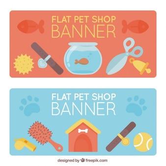 Jogo de bandeiras de pet shop em estilo plano