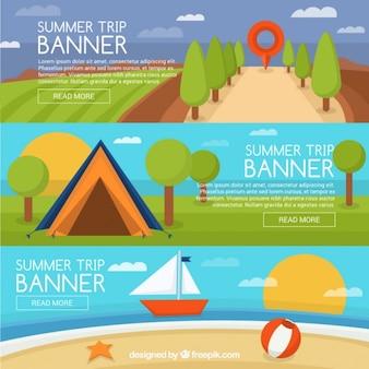 Jogo de bandeiras paisagens três verão