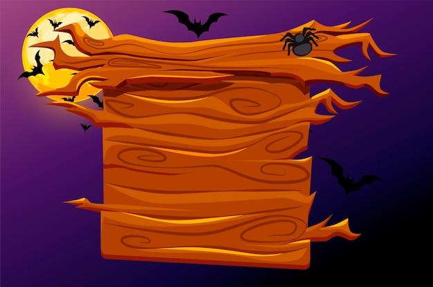 Jogo de banner de madeira com decoração de halloween