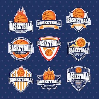Jogo de basquete esporte conjunto emblemas