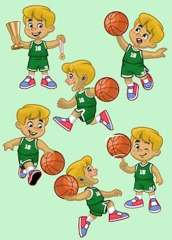 Jogo de basquete menino branco de desenho animado