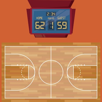 Jogo de basquete quadra de madeira