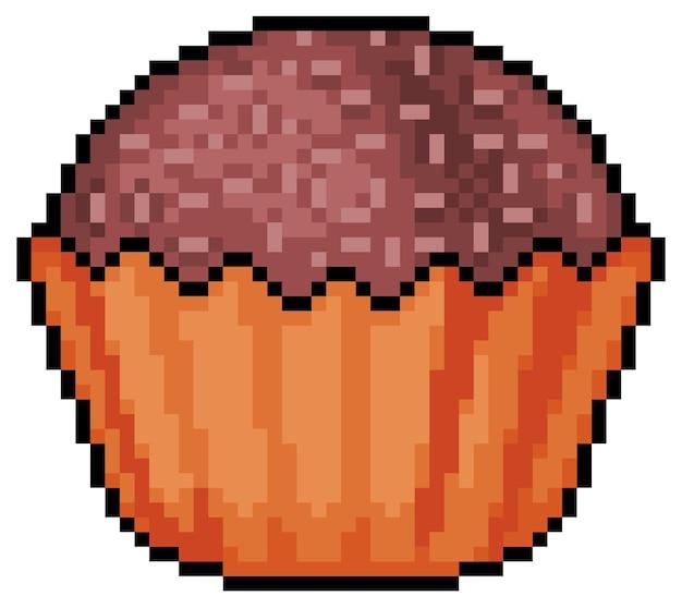 Jogo de bits do ícone do brigadeiro de chocolate pixel art com fundo branco