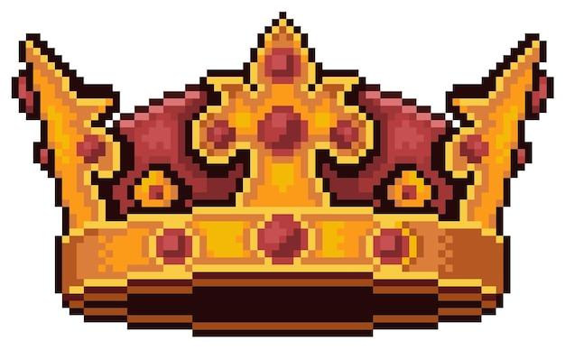 Jogo de bits pixel art king crown icon