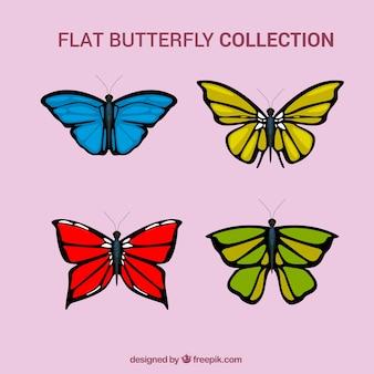 Jogo de borboletas coloridas desenhadas mão
