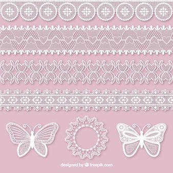Jogo de borboletas e laço decorativo fronteiras