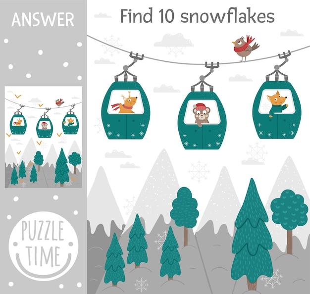 Jogo de busca de inverno para crianças com montanhas, floresta, árvores, animais em teleféricos funiculares.