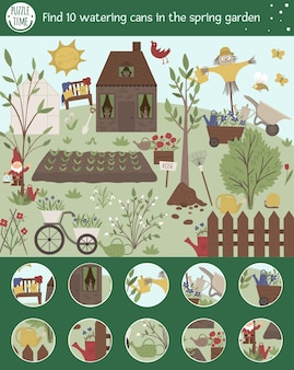 Jogo de busca para crianças com regadores no jardim da primavera