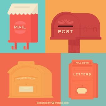 Jogo de caixas de correio retro no design plano