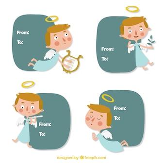 Jogo de caixas de texto com anjos agradáveis
