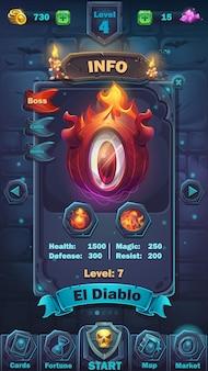 Jogo de campo de jogo com informações gui de batalha de monstros