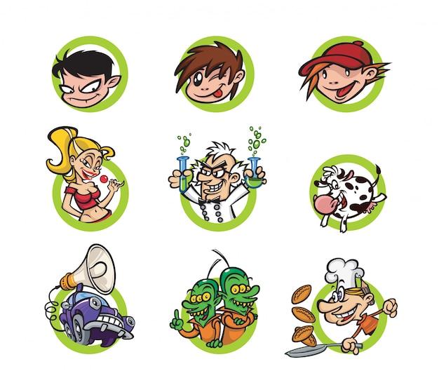 Jogo, de, caricatura, caráteres