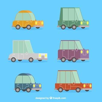 Jogo de carros dos desenhos animados retro no design plano