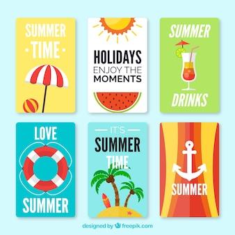 Jogo de cartões do verão com acessórios
