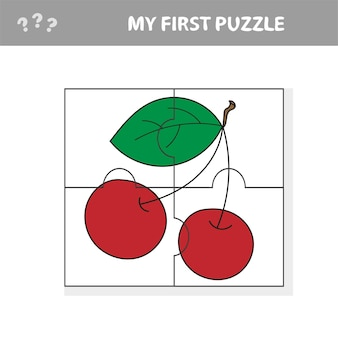 Jogo de cereja para crianças e crianças - meu primeiro quebra-cabeça - vetor