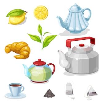 Jogo de chá com folhas verdes, copo de bebida quente, bule