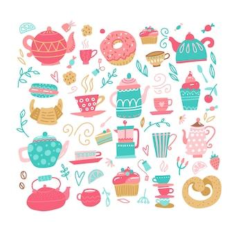 Jogo de chá de amor com elementos de beber chá
