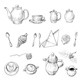 Jogo de chá desenhado na parte superior e lateral e atributos do chá. desenho e ilustração em aquarela