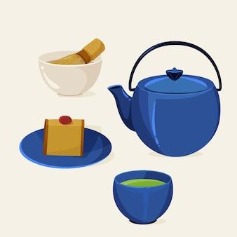 Jogo de chá japonês detalhado