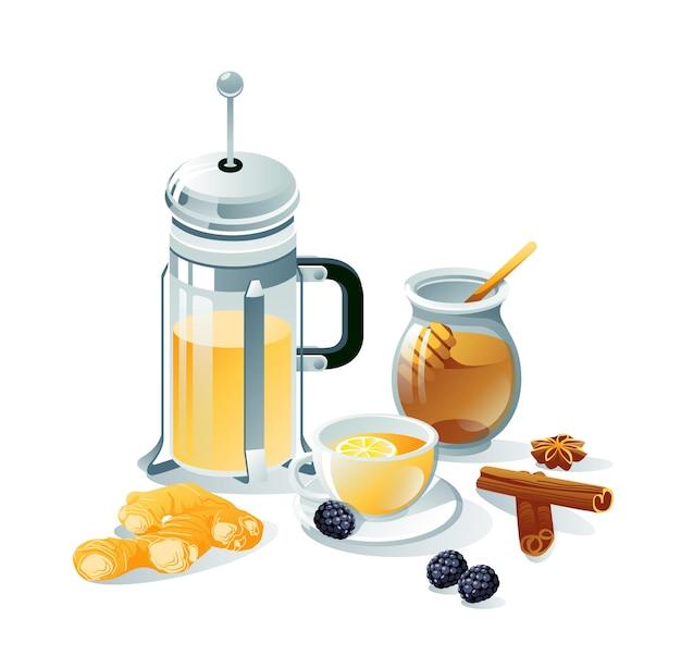 Jogo de chá preto, à base de ervas. bules, xícaras, saquinho de chá, limão, frutas vermelhas, gengibre, mel, canela.