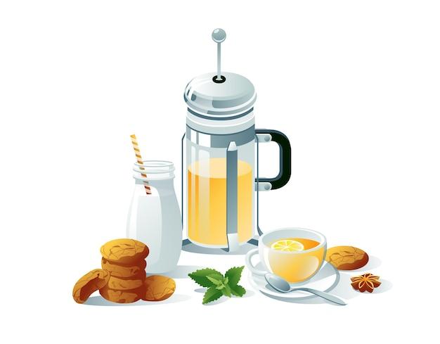 Jogo de chá preto, à base de ervas. imprensa francesa, xícaras, saquinhos de chá, limão, hortelã, leite, biscoitos. os objetos são isolados em um fundo branco.
