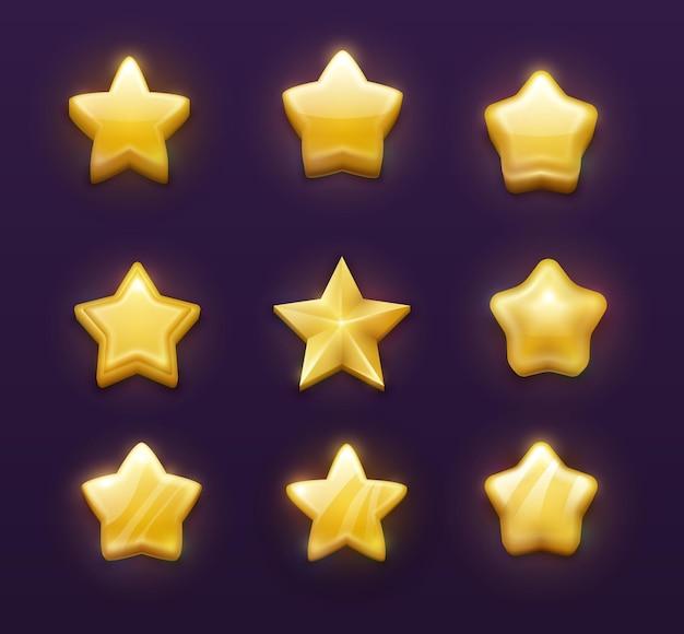 Jogo de classificação de estrelas douradas desenho dos desenhos animados de interface do usuário, gui.