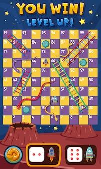 Jogo de cobras e escadas com espaço