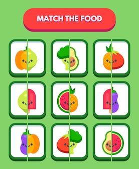 Jogo de combinação colorido com conjunto de elementos fofos