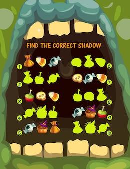 Jogo de combinação de sombras para crianças com guloseimas de halloween. enigma de crianças, página de vetor de jogo infantil ou atividade de jogo com encontrar tarefa de sombra correta. doces assustadores, geleia e biscoitos, muffin, maçã