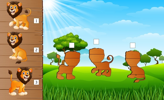 Jogo, de, combinar, leão, jogo
