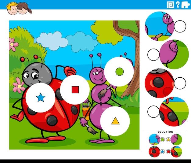 Jogo de combinar peças com personagens de desenhos animados de insetos
