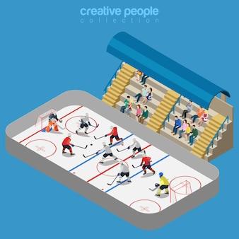 Jogo de competição de estádio de arena de hóquei no gelo.
