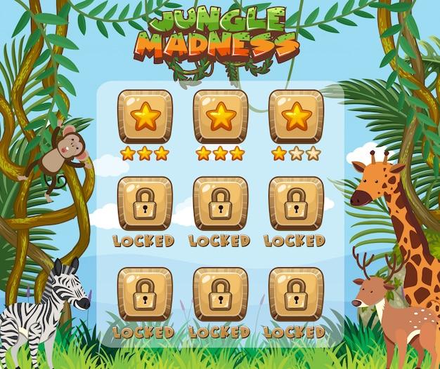 Jogo de computador com muitos animais na floresta