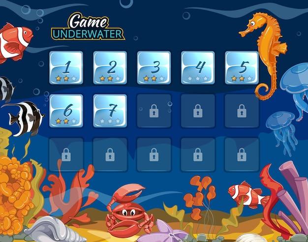 Jogo de computador submarino com interface de usuário