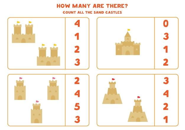 Jogo de contagem com castelos de areia de desenho animado.