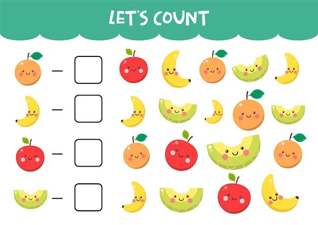 Jogo de contagem com frutas coloridas fofas