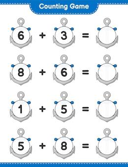 Jogo de contagem, conta o número de âncora e escreve o resultado jogo educativo para crianças