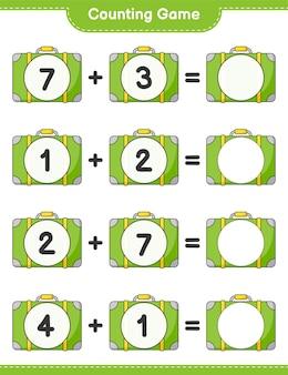 Jogo de contagem, conta o número de bagagem e escreve o resultado jogo educativo para crianças