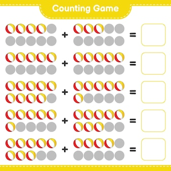 Jogo de contagem, conta o número de bolas de praia e escreve o resultado. jogo educativo para crianças