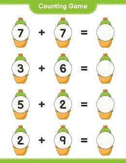 Jogo de contagem, conta o número de cactos e escreve o resultado. jogo educativo para crianças