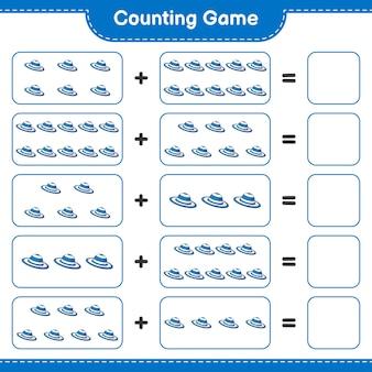 Jogo de contagem, conta o número de chapéu de verão e escreve o resultado jogo educativo para crianças