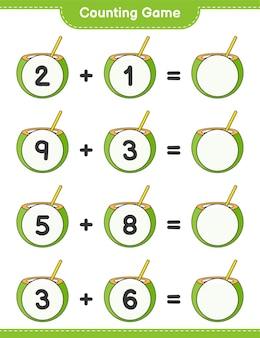 Jogo de contagem, conta o número de coco e escreve o resultado jogo educativo para crianças