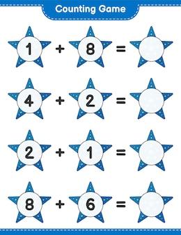 Jogo de contagem, conta o número de estrelas do mar e escreve o resultado jogo educativo para crianças